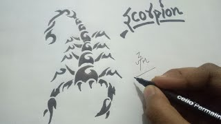 HOW TO DRAW A TRIBAL SCORPION TATTOO