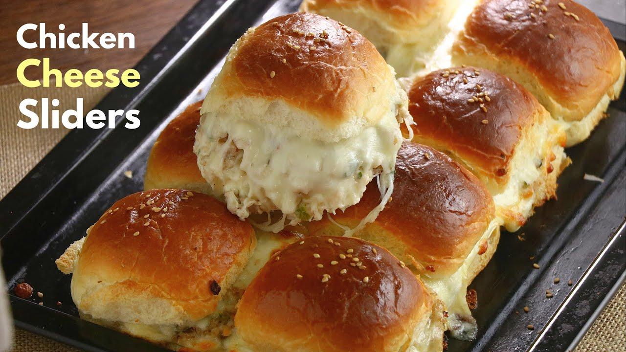 చికెన్ చీస్ స్లయిడర్స్| Chicken cheese sliders recipe| Cheese slider recipe in telugu |@vismai food