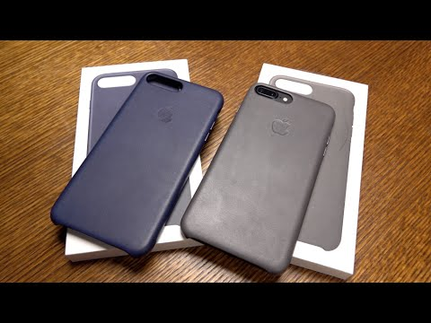 Thumbnail: iPhone 7 Plus Leather Case Storm Gray & Midnight Blue