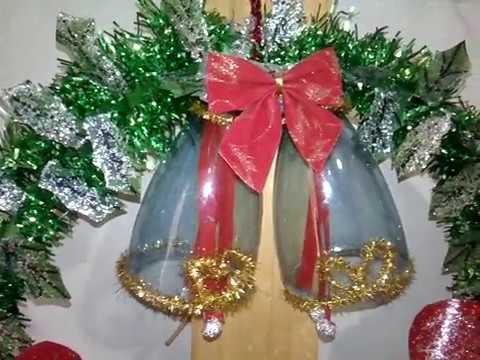 CAMPANAS en corona navideña con botellas de plastico - YouTube