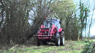Hedge coppicing using a tractor mounted single circular saw operated by PJ & MJ Ward Contracting