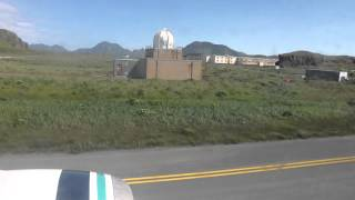 Approach, landing and taxi to Adak, Alaska