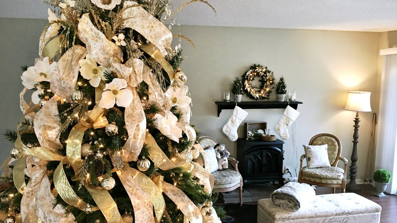 golden magnolia christmas tree how to decorate a christmas tree youtube - Magnolia Christmas Decor