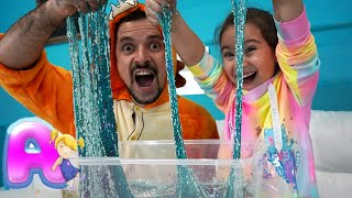 Anna and Dad make slime with funny balloons | Funny video slime