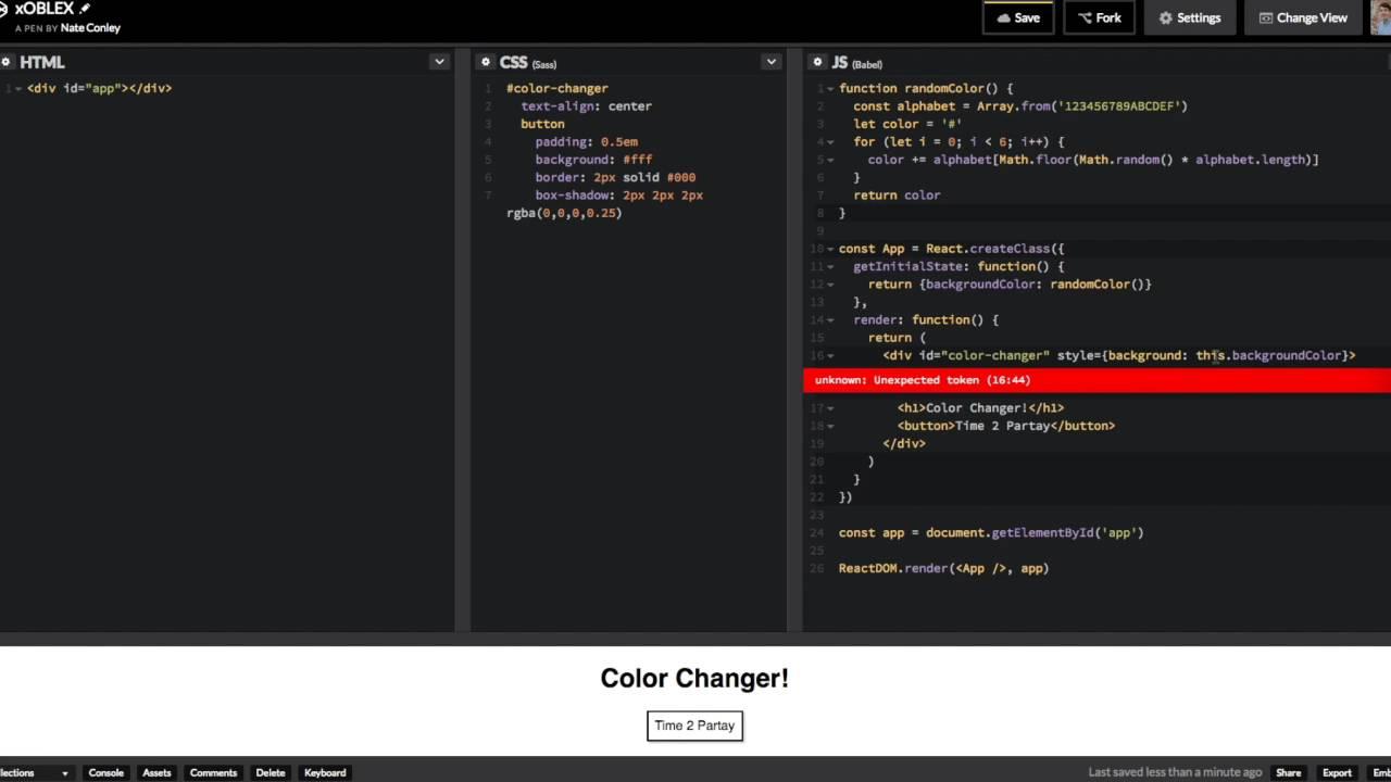 Reactjs Color Changer In Codepen Youtube