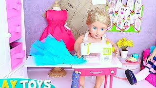 Baby doll dyi tailor! play ag & og dolls sewing machine doll dress up morning routine play food toys