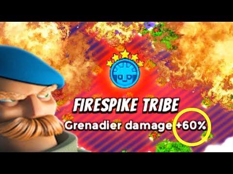 INSANE Grenadier Damage! Max Tribal Boost Grens Do Work! Boom Beach Tribes