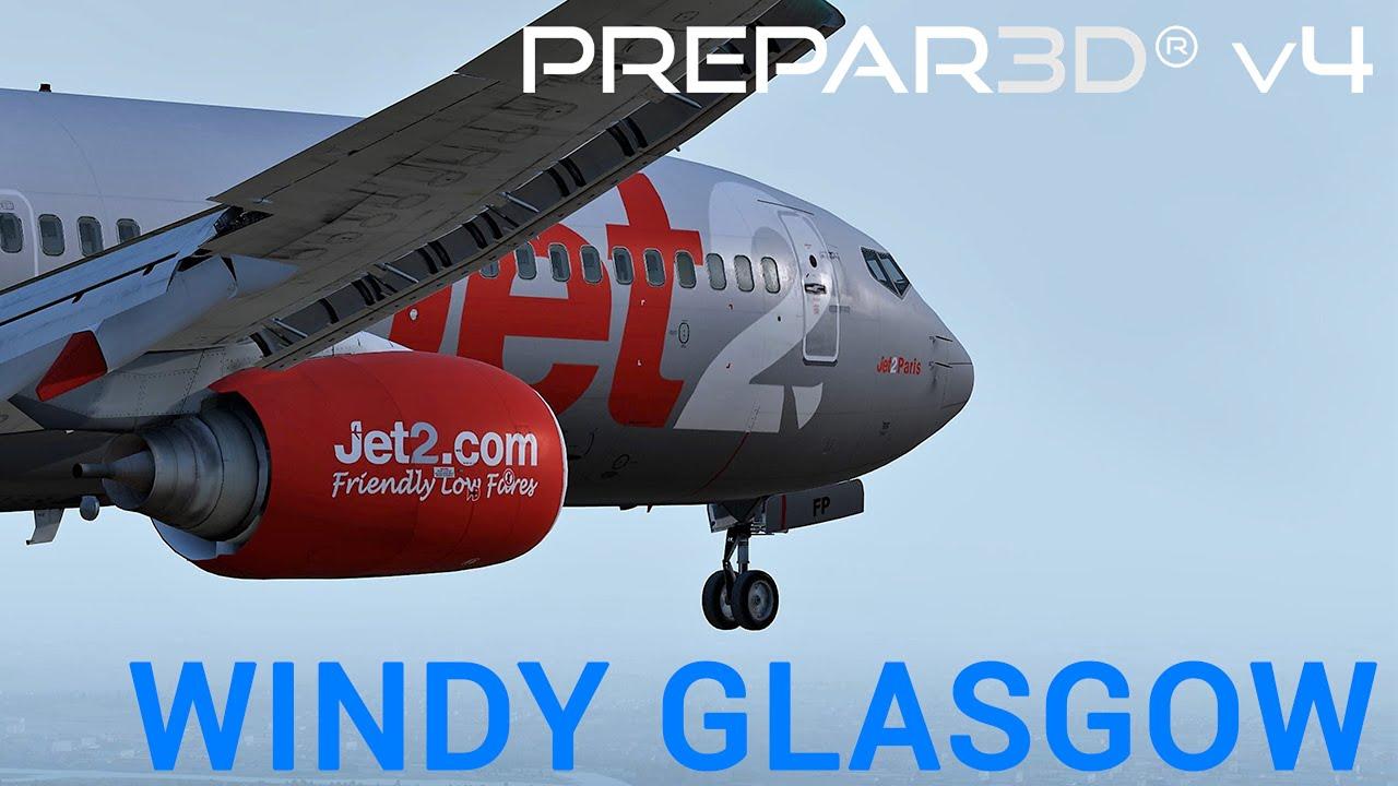 P3D V4 5 | Testing RESHADE | PMDG 737 Crosswind at Glasgow