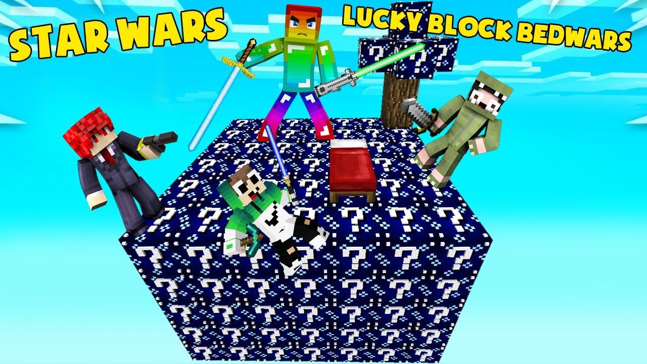 MINI GAME : STAR WARS LUCKY BLOCK BEDWARS ** NOOB TEAM CUỘC CHIẾN CỦA CÁC THANH KIẾM ÁNH SÁNG VIP