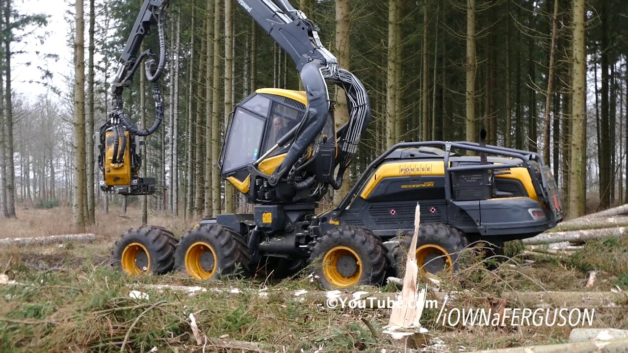 Ponsse Scorpion King Working Hard In The Forrest   Heavy Forestry Equipment    Cutting Down Woods  Iownaferguson 03:32 HD
