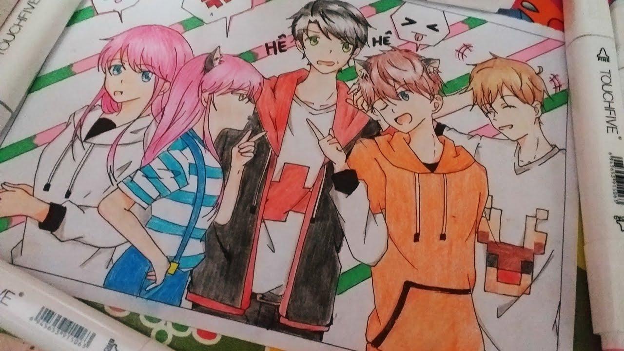 Vẽ anime redhoodvn x mều san x chị panda x foxbi x hiro€(Minecraft-youtube)
