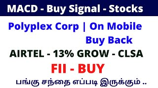 MACD - Buy Signal - Stocks | Polyplex Corp | On Mobile  Buy Back Airtel - 13% |ALICE BLUE|TTZ