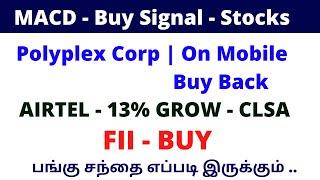 MACD - Buy Signal - Stocks | Polyplex Corp | On Mobile Buy Back Airtel - 13% |ALICE BLUE|TTZ