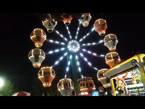 Ferris Wheel Nighttime off Ride at Adventureland in Farmingdale,NY Late 2016 Attraction Tube HD