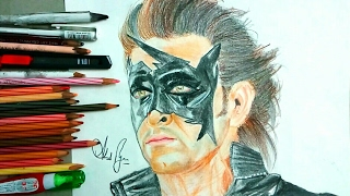 Drawing Super Hero Krish or Hrithik Roshan-How to draw Krish/ Hrithik Roshan-#CelebPortrait9