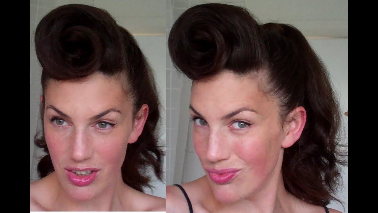 50s pin up hairstyles : How to Rockabilly Roll hairstyle tutorial 40s 50s pinup hair paloma...