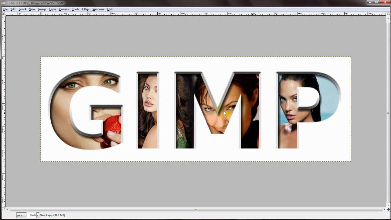 GIMP Tutorial - how to put images inside text - YouTube