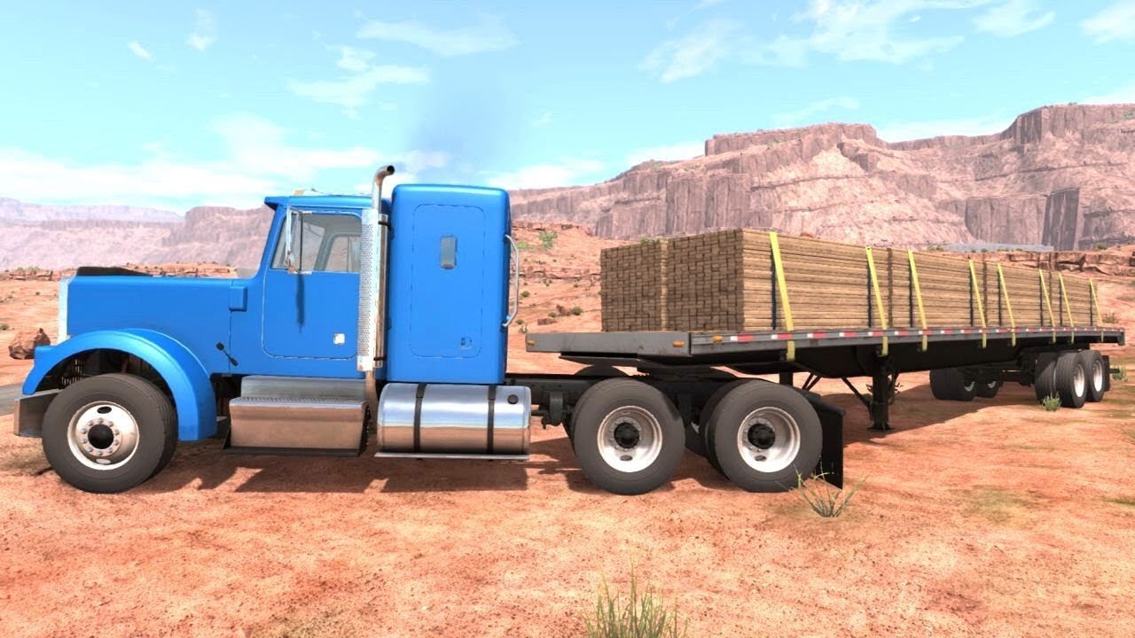Beamng Drive Semi Truck Flatbed Trailer Off Road In The Desert Youtube