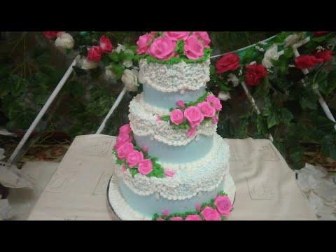 Weddingcake 3 Tingkat Biru Pink Rose Flowers