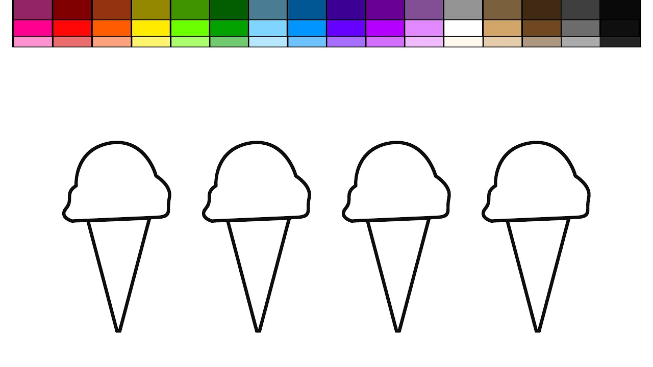 Learn Colors For Kids And Color 4 Summer Ice Cream Extra Scoop Coloring Page
