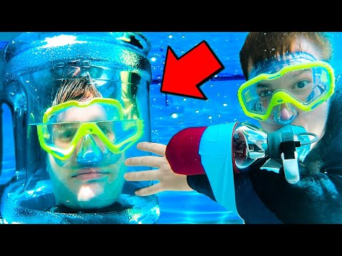 UNDERWATER BREATHING DEVICE CHALLENGE 2019! Papa Jake Vs Logan