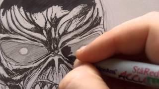 Drawing Eddie Iron Maiden - Inking