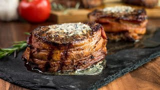 Bacon-Wrapped Filet Mignon with Compound Butter