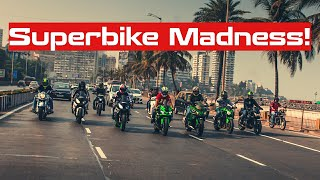 Superbike Madness in Mumbai, India | Fireblade Burnout | Fly-Bys | S1000RR ZX6R Wheelie | H2 Revving
