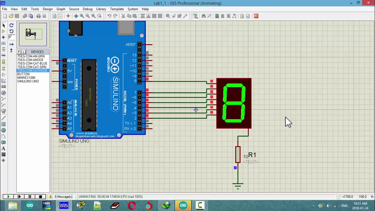 7 Segment Display Arduino Code Simulate In Proteus