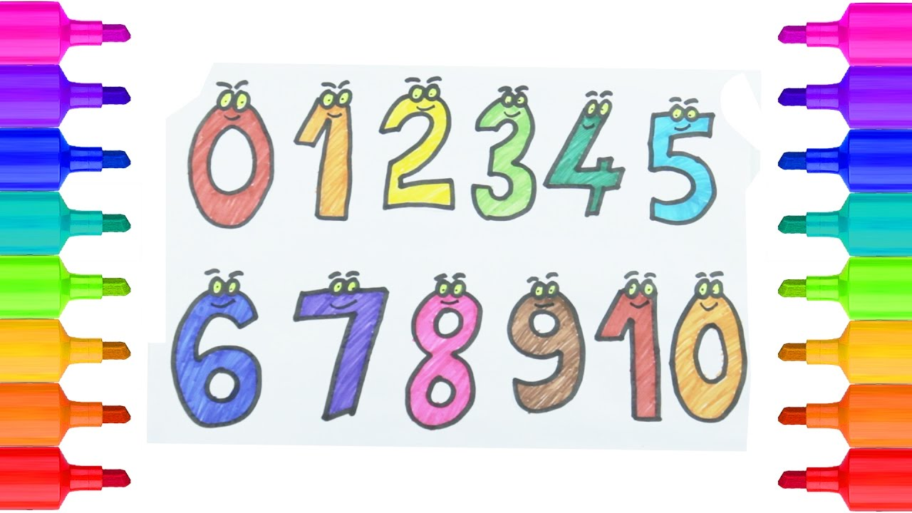 how to draw and color numbers drawing numbers 0 to 10 colouring pages to learn colors for kids - Color Numbers