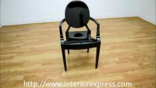 Interiorexpress Ghost Chair - Black Acrylic Stackable Arm Chair