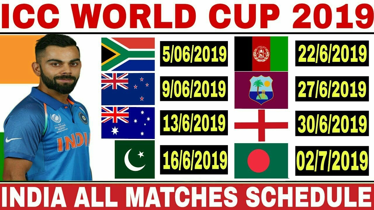 icc world cup 2019 india match list world cup 2019 india schedule time table wc 2019 ind matches