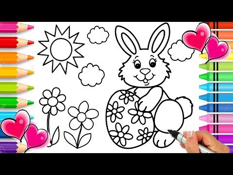 Easter Bunny Coloring Page | Easter Coloring Book | Glitter Easter Egg Printable Coloring Page