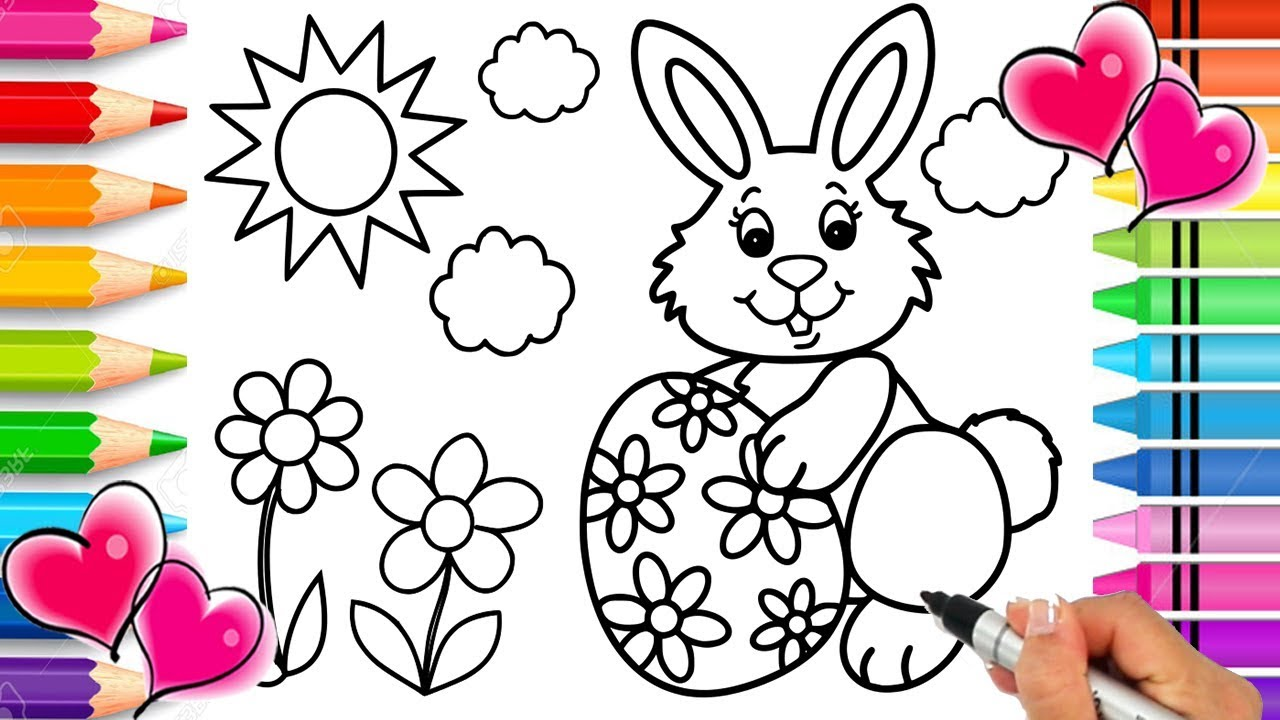 Easter Bunny Coloring Page Easter Coloring Book Glitter Easter Egg Printable Coloring Page Youtube