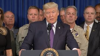 President Donald Trump delivers remarks during visit to Las Vegas