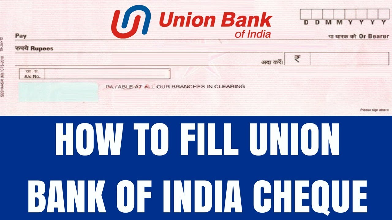 Union Bank Of India Cheque