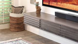 Floating TV Stand Wall Mount - Lotus 3 Piece - Driftwood Gray