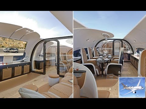 The $100m private jet!  Features a hi-tech ceiling that projects live views of the outside