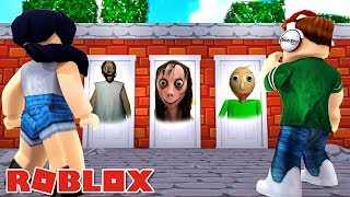 DO NOT ENTER the WRONG DOOR of ROBLOX-Halloween with VICTORY MINEBLOX-JR and MI