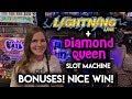 BONUSES! Lightning Link and Diamond Queen Slot Machines! Nice WIN!