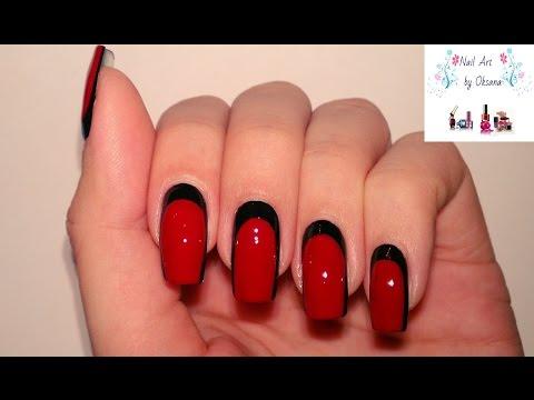 Маникюр черный с красными
