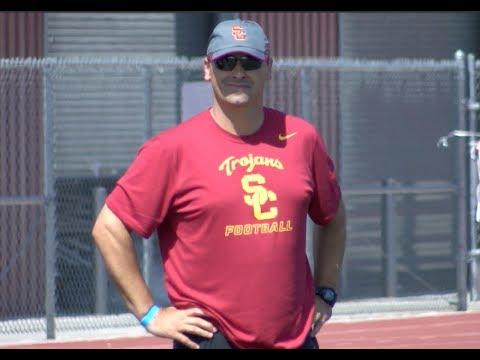 FOOTBALL: USC Head Coach Steve Sarkisian Talks To Players at The Kumite