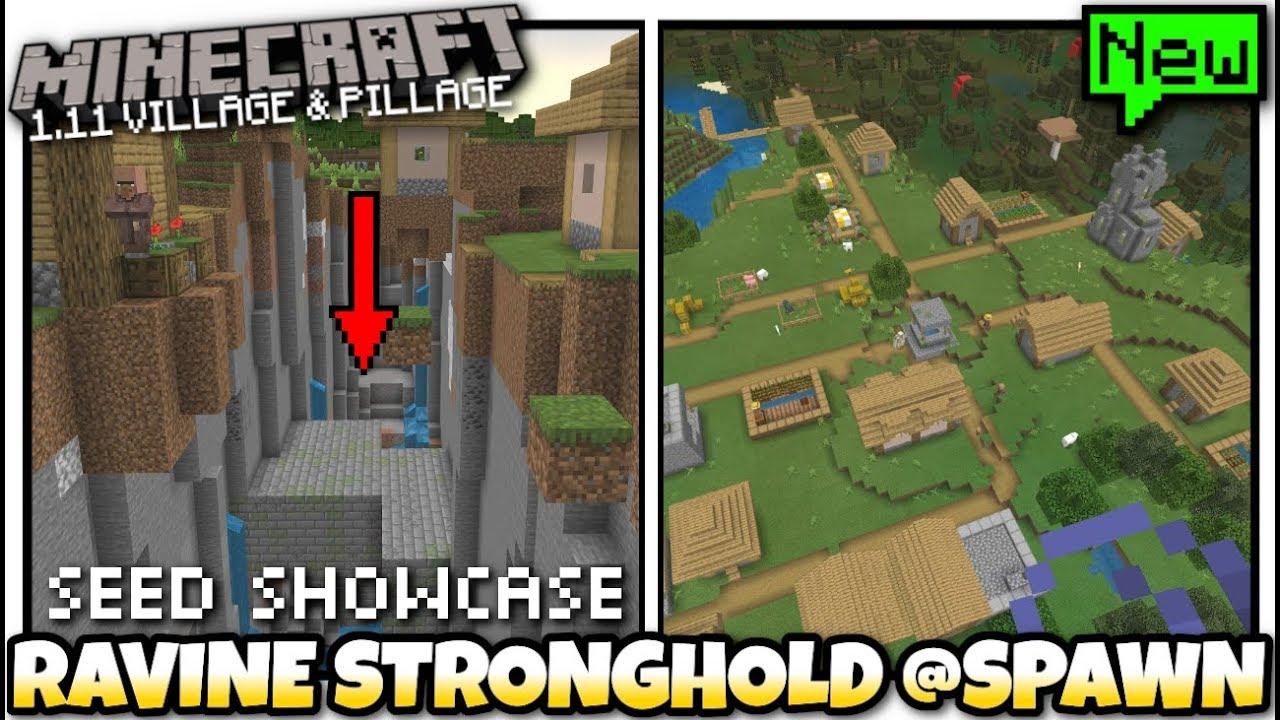 Minecraft 3x Village Stronghold Ravine At Spawn Seed Showcase Mcpe Xbox Bedrock Switch