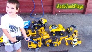 Toy Trucks for Kids: Construction Toys at Car Wash: Bruder + Tonka Excavators Backhoe Dump Truck
