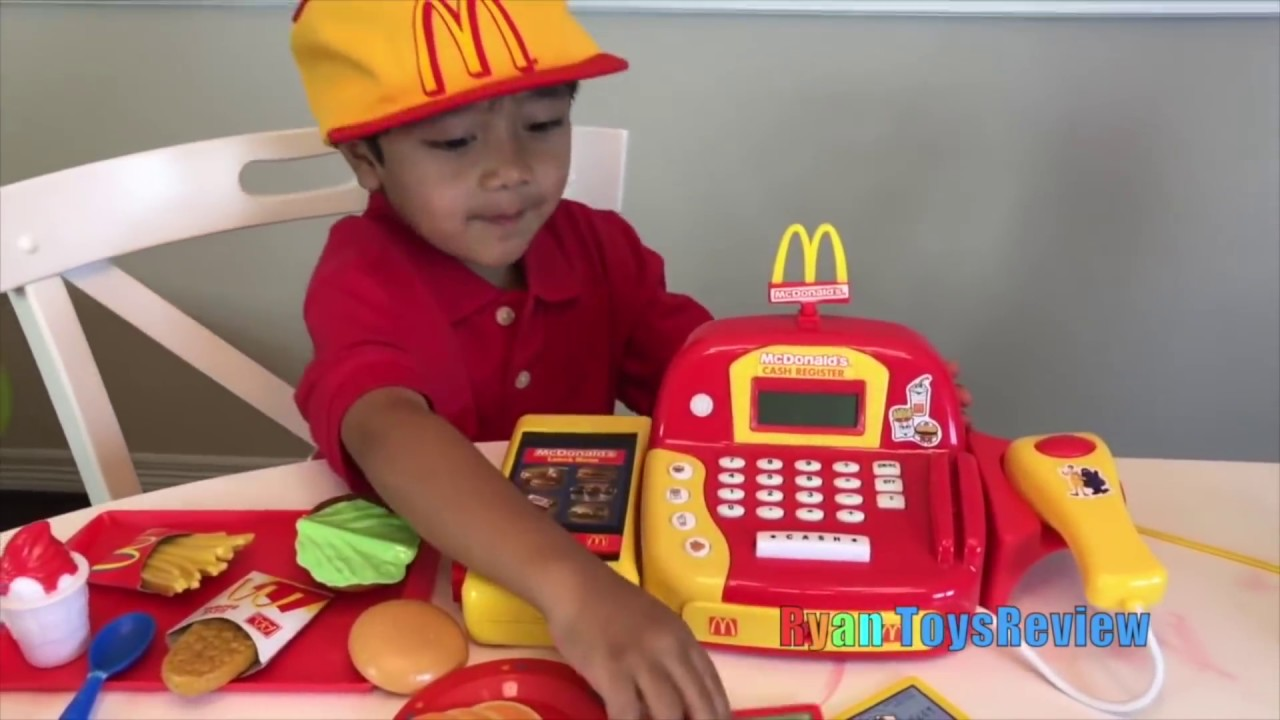 ryan pretend plays with mcdonald s toys and power wheels youtube