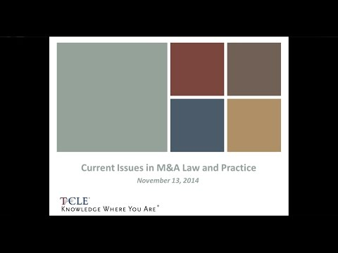 Current Issues in M&A Law and Practice