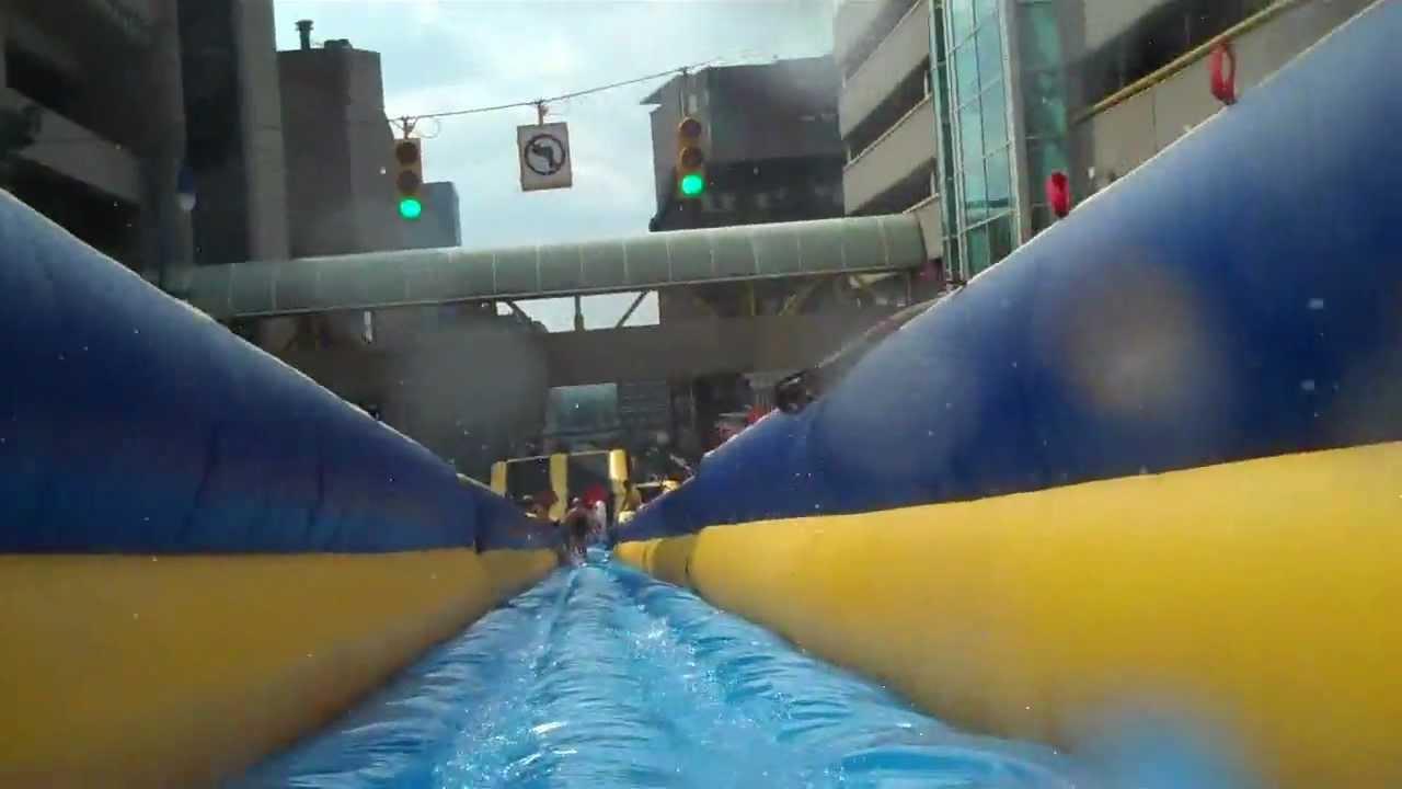 Worlds Longest Inflatable Water Slide Grand Rapids Michigan Youtube