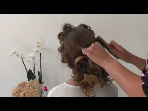 Curly low bun wedding hair - shortened video