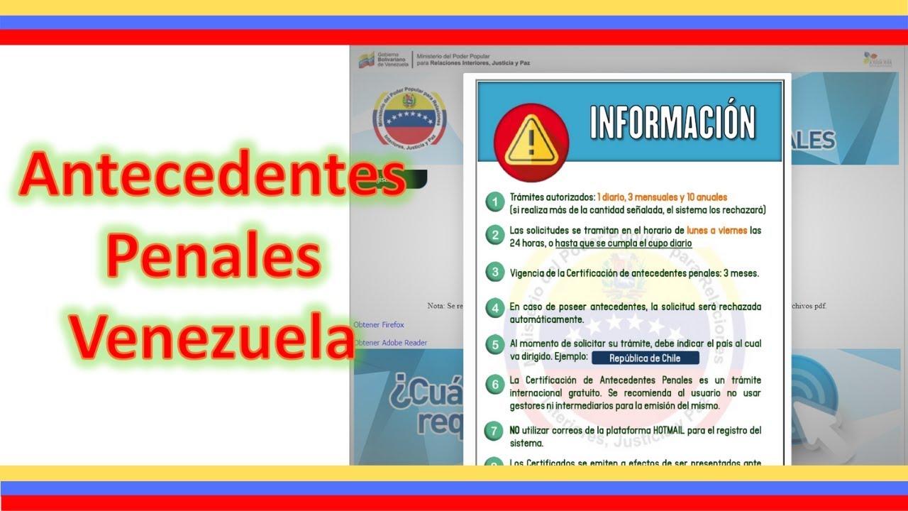 Antecedentes Penales Venezuela Cual Es El Organismo 2019