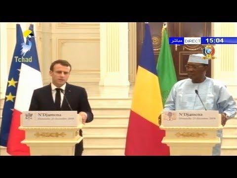 TCHAD/FRANCE - CONFERENCE DE PRESSE IDRISS DEBY ITNO ET EMMANUEL MACRON